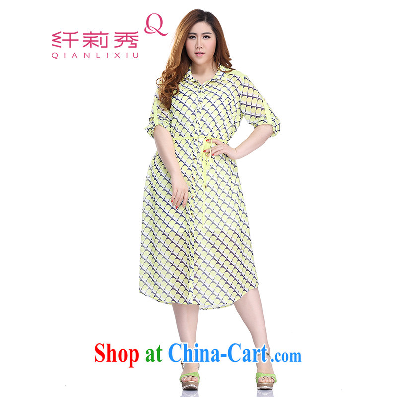 Slim LI Sau 2015 summer new, larger female hit the stitching shirt lapel can pull 7 sub-T-shirt-dresses Q 7739 yellow 4 XL