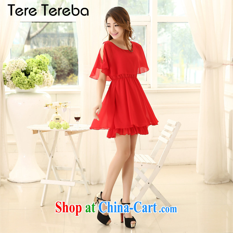Tere Tereba larger women Summer Snow-woven graphics thin, XL girls bare shoulders short-sleeved thick mm and indeed XL dresses red large red 4 XL recommended chest of less than 108