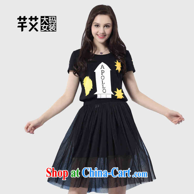 Constitution the larger female 2015 summer new mm thick beauty graphics thin two-piece fun stamp dress 2615 black 128_5 XL