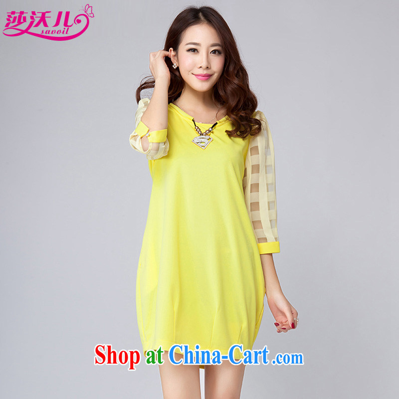 Elizabeth's children in spring and summer with new, and indeed increase, female fat sister stylish stitching pane Bali 7 cuff the dresses D 2006 yellow 4 XL