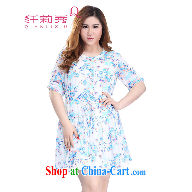 Slim LI Sau 2015 summer new, larger female stylish stamp flouncing elastic waistband with 7 sub-cuff dress _with straps_ Q 7760 blue 5 XL