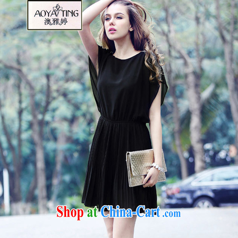 o Ya-ting 2015 New, and indeed increase, female summer thick mm video thin ice woven short-sleeved dresses female black 5 XL recommends that you 175 - 200 jack