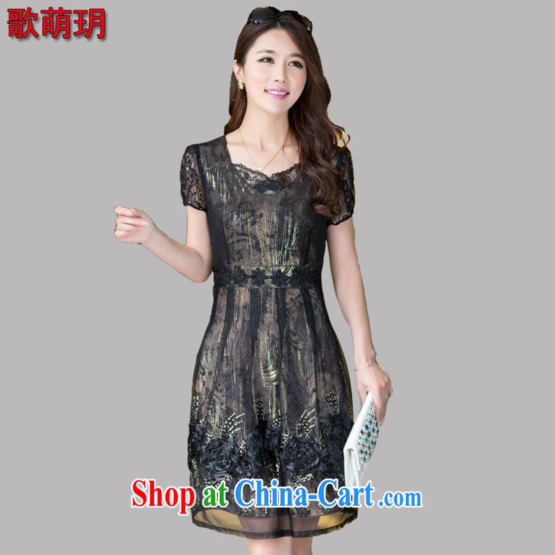 Song Meng Yin Yue XL New Beauty skirt short-sleeve hook flower language air long snow spinning dresses Z 0120 black XL _120 - 135 _ jack