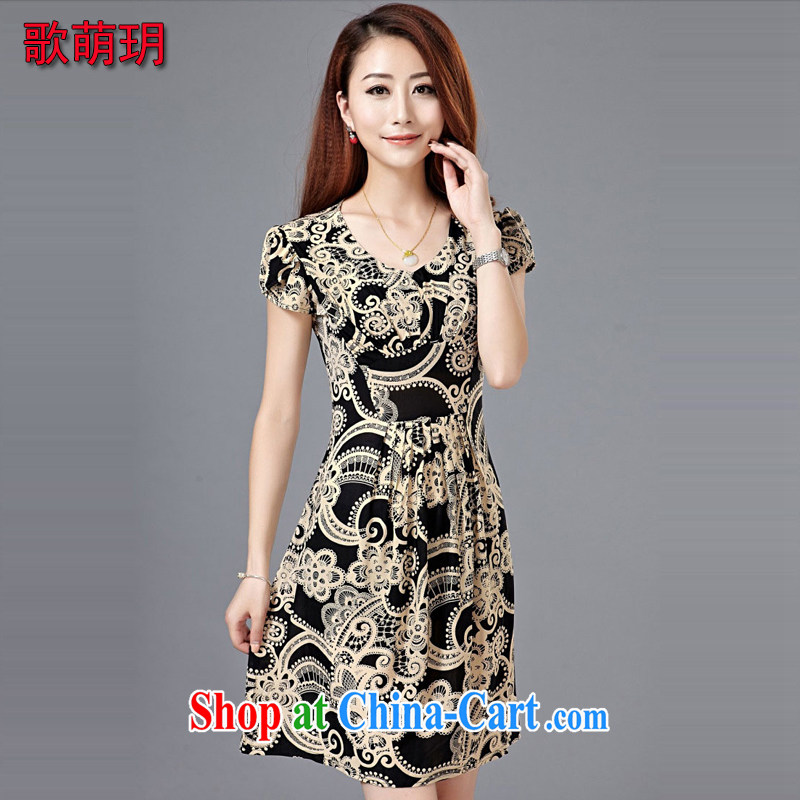 Song Meng Yin Yue XL New Beauty video thin, long, large, silk snow woven dresses short-sleeved middle-aged retro fitted Z 0105 tea-colored L 9105 - 120 jack
