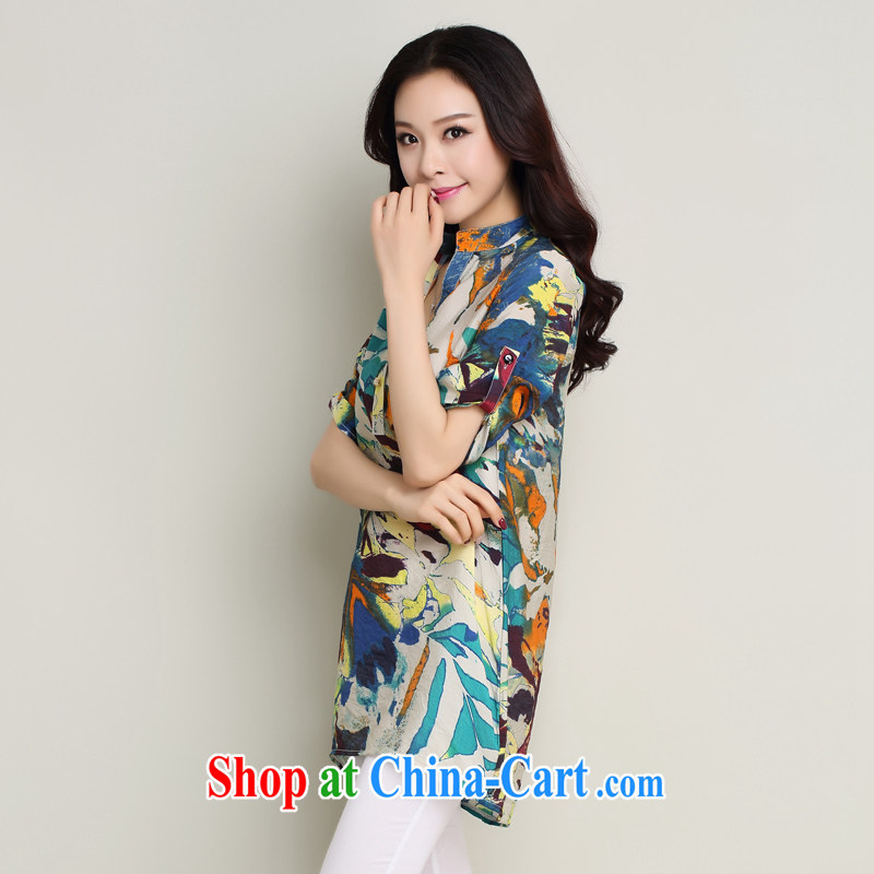 Standing wave following the Code women summer 2015 New floral cotton in Yau Ma Tei for stamp duty, loose T-shirt, shirt orange XXL, tide and diverse audiences (CHAOZIYUN), online shopping
