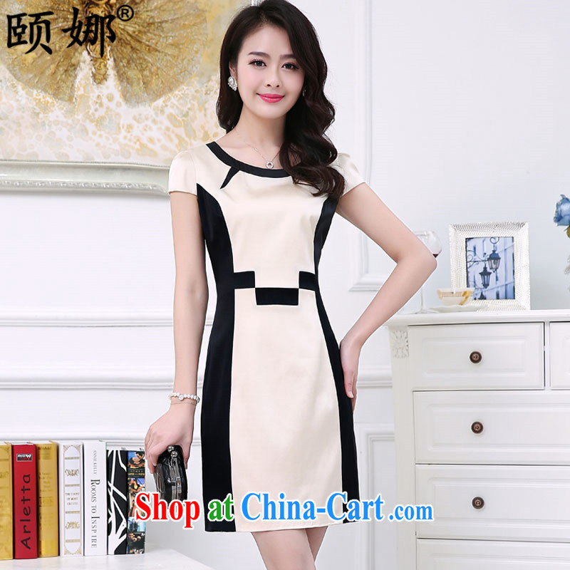 We have 2015 summer new, larger female short-sleeved sauna silk silk damask stamp dresses YL 156 white XXXL