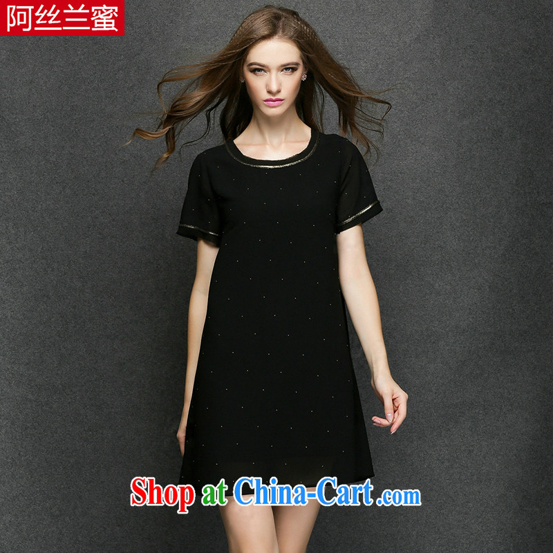 The silk, honey XL girls thick MM graphics thin 2015 summer beauty loose snow woven dresses ZZ 3376 black 2 XL _135 jack - 149 Jack through_