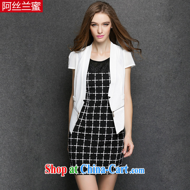 The silk, honey XL girls with thick MM graphics thin 2015 summer small jacket tartan beauty dress _two-piece_ ZZ 3373 white 4XL _165 jack - 180 Jack through_