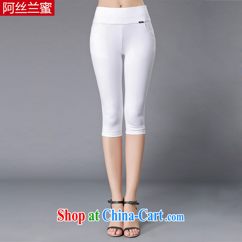The silk, honey XL girls thick MM graphics thin 2015 summer decoration, stretch 7 pants ZZ 3365 white 3XL (150 jack - 164 Jack through)