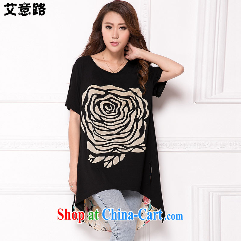 AIDS and the Korean version of the greater code female summer personality, long, thick snow mm woven spell pure cotton short-sleeved relaxed casual stamp T pension 6001 black large code XXL