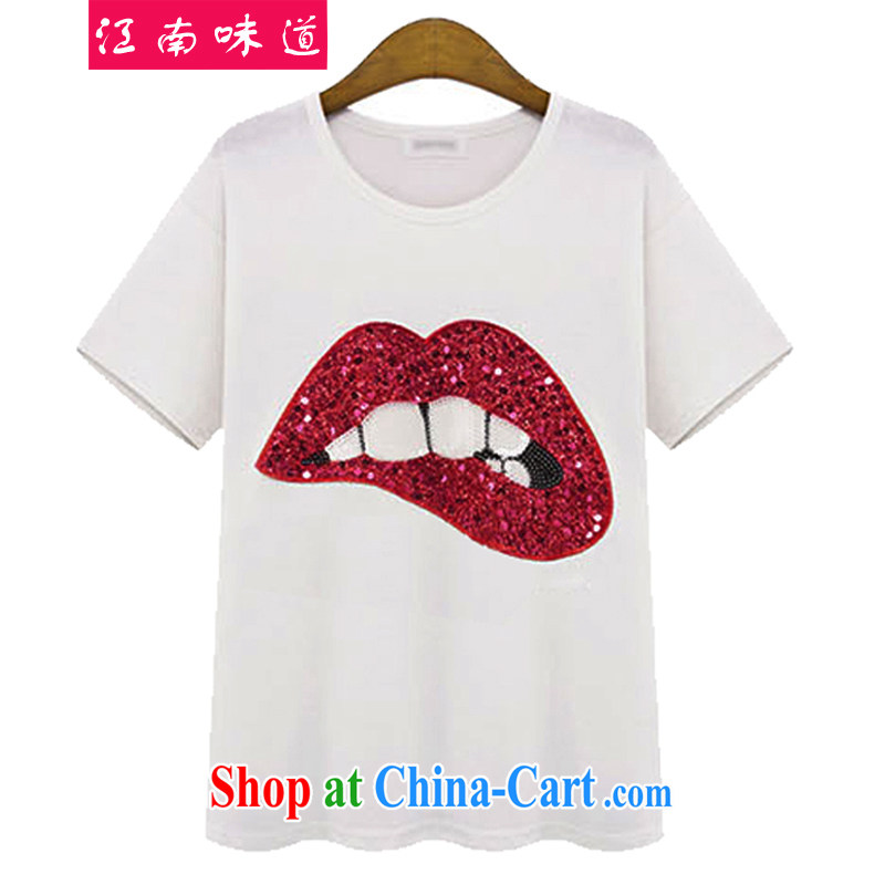taste in Gangnam-gu is the XL female summer focused on Europe, female video thin, thick sister leisure loose cotton short-sleeve T-shirt 227 white red mouth XL 4 165 recommendations about Jack