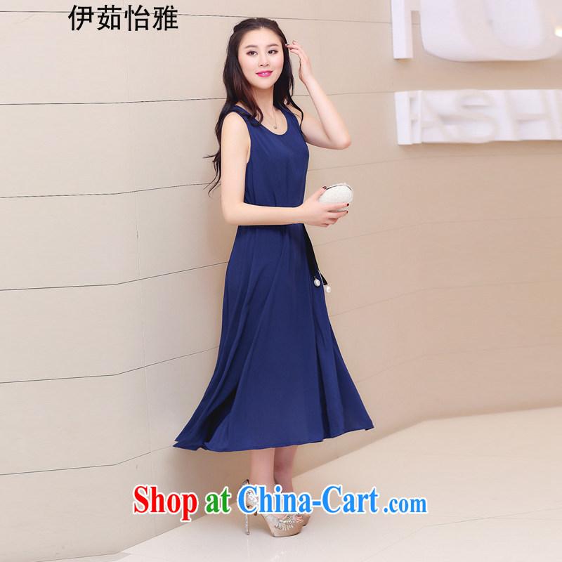The Ju-yi, the Code women dresses 2015 summer new thick sister Bohemia snow woven skirts dresses YJ possession 168 cyan XXXL