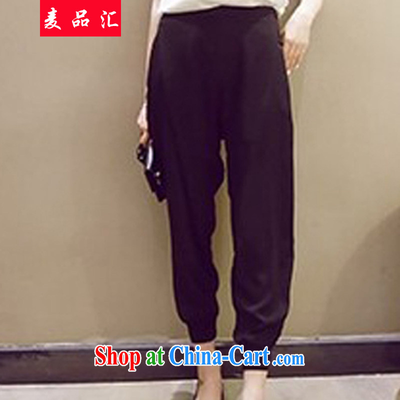 Mr MAK, sinks and indeed XL women summer 2015 new Korean version thick sister 200 Jack relaxed beauty graphics thin Tibetan meat Harlan pants 0830 black 3 XL recommendations 175 - 210 jack