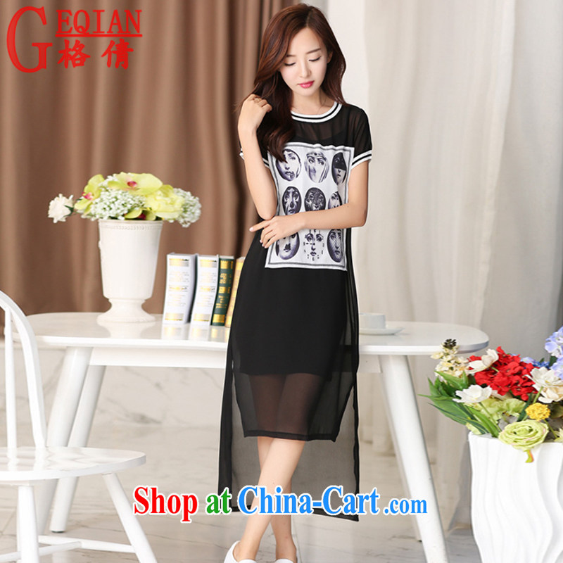 The MS 2015 summer new, larger women Beauty Fashion stamp duty short-sleeved snow woven dresses two piece M 043 black XXL