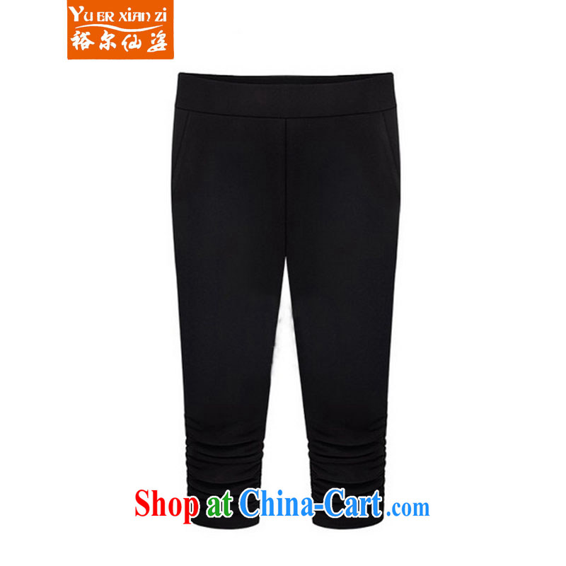 Yu's Sin City 2015 new Europe the Code women summer thick mm elasticated waist 7 pants female black 5 XL recommends that you 175 - 200 jack