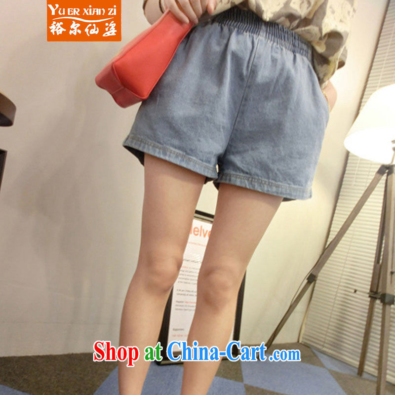 Yu's Sin City summer 2015 new larger female trendy Elastic waist denim shorts girls light blue 5 XL recommends that you 175 - 200 jack