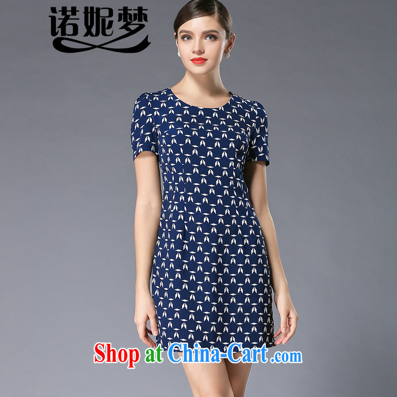 Connie's dream in Europe 2015 summer new, larger female thick mm elegant stamp graphics thin short-sleeved snow woven dresses Y 3381 blue XL