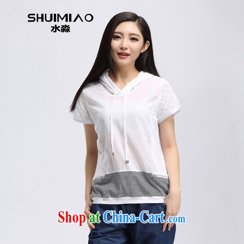 Water with larger female Korean lax T-shirt 2015 summer New MM thick striped short-sleeved S XK 15 4991 white 3XL