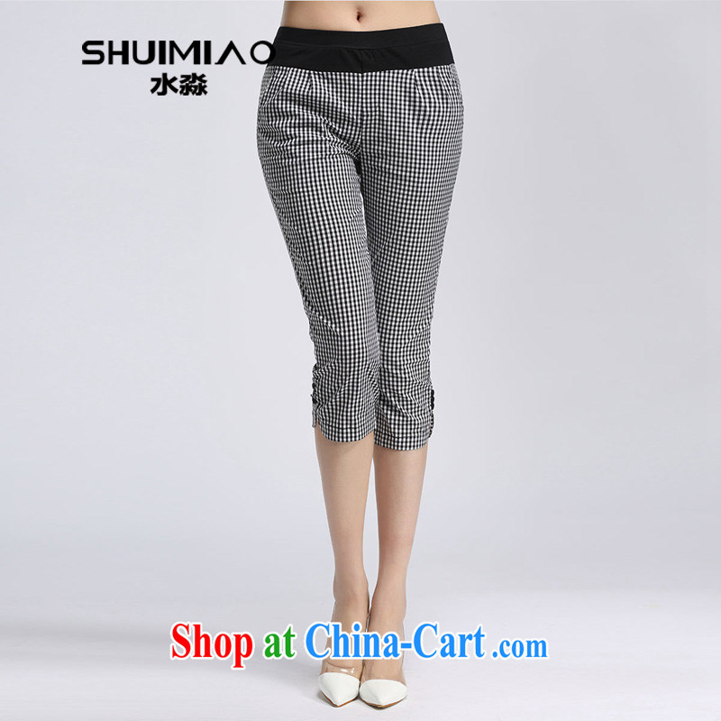 Water by summer 2015 new products, female, high waist stretch grid 7 pants girls pants S XL 15 5072 black-and-white, 3 XL