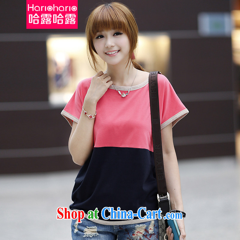 The Terrace 2015 summer new Korean version of the greater code female loose short-sleeved shirt T women 618 Women urged the pink XXL
