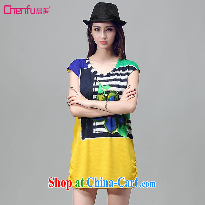 Morning would be 2015 summer new Korean version is indeed the XL female fat sister loose video thin round-collar short-sleeve features collision Color Registration stamp dresses yellow 2XL
