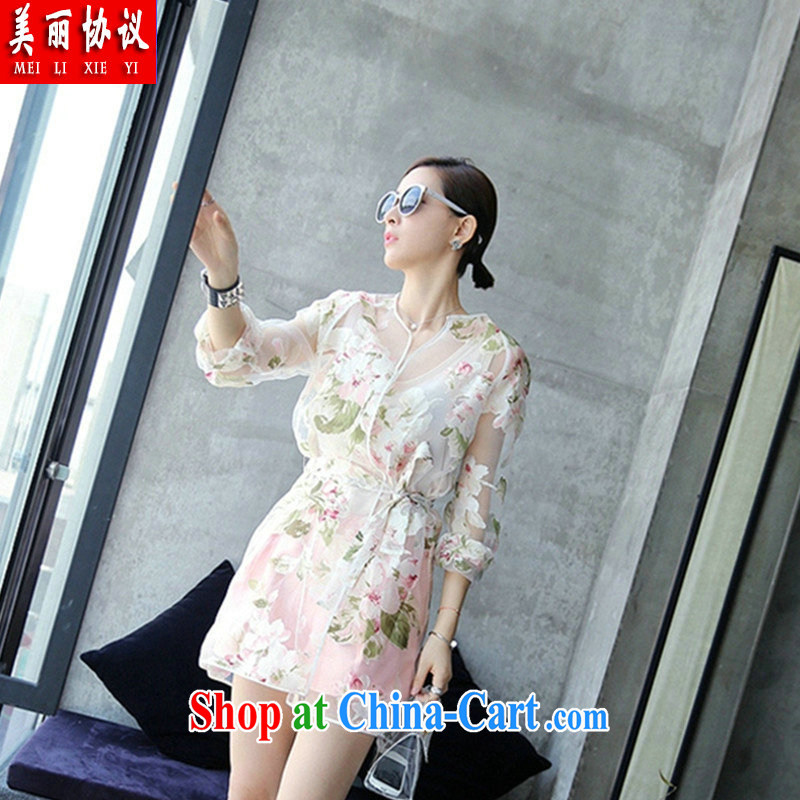 Beautiful agreement 2015 King, female-clothed to 200 in Jack long cardigan sunscreen clothing transparent thin coat SJL 2622 fancy XXXL