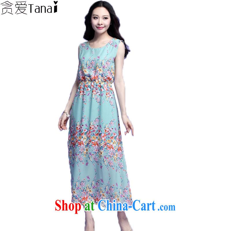 loved the code summer bohemian sleeveless thick mm female snow woven stamp-yi long skirt skirt beach 3703 green 4 XL