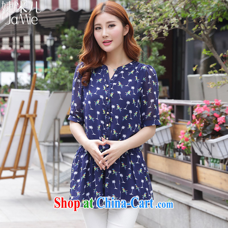 With M-care 2015 summer new softness bird stamp the code short-sleeved snow woven shirts Po blue XXXXL
