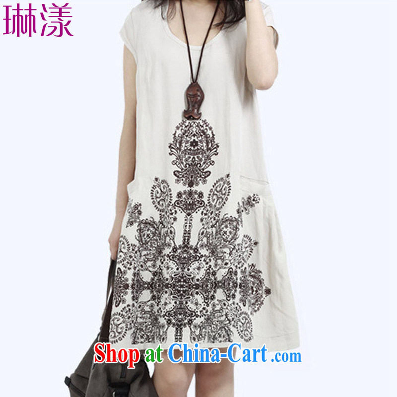 Lin chestnut dress summer 2015 new Korean version the code dress casual stamp loose a field dress graphics thin cotton the stylish dresses picture color L