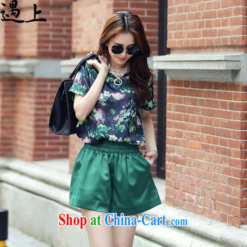 In the summer 2015 new thick mm stylish short-sleeve T shirts shorts large code snow woven two-piece leisure package - 8955 green 3 XL