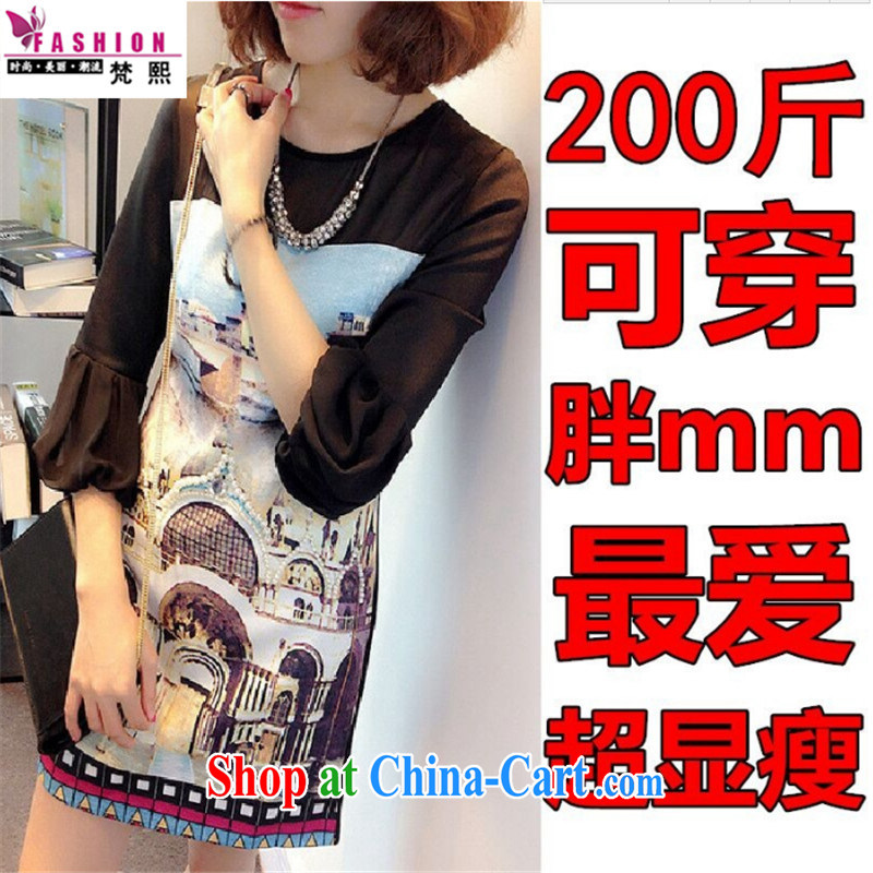 Mr Chau Tak-hay Van Gogh 2015 new summer is the XL female 200 Jack mm thick Summer Snow woven graphics thin even T shirts skirts thick sister in long dresses black XXXXL 175 - 200 left and right