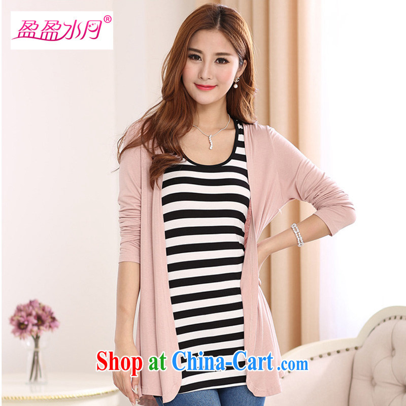 The Code graphics thin woman with thick mm spring and summer T-shirt Han version cardigan shawl air-conditioning T-shirt-T-shirt mom with summer - YY 112,100 bare pink 3XL code