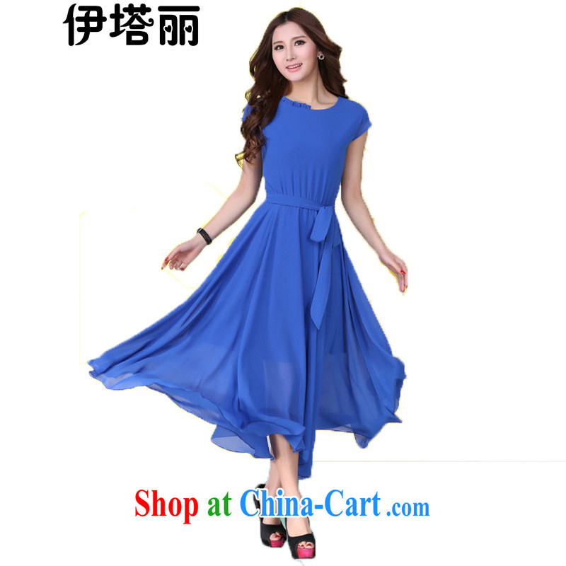 The Taliban, the Code's 2015 summer new thick sister graphics thin Korean large long skirt bohemian dresses and indeed intensify beach skirt, belt blue 4 XL 160 jack - 180 jack