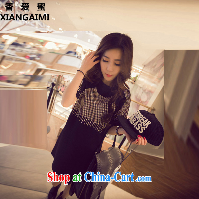 Hong Kong Love honey 2015 Korean version of the new, summer flow, hot, short-sleeved and indeed XL girls thick MM, long dresses female black XXXL _recommendations 160 - 200 jack_