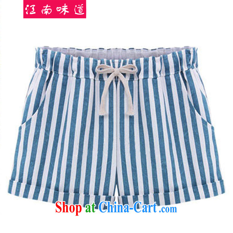 taste in Gangnam-gu the code shorts female fat, female video thin leisure Korean version thick sister summer maximum code female striped elastic waist hot pants 813 blue 4 XL recommendations 160 - 180 jack