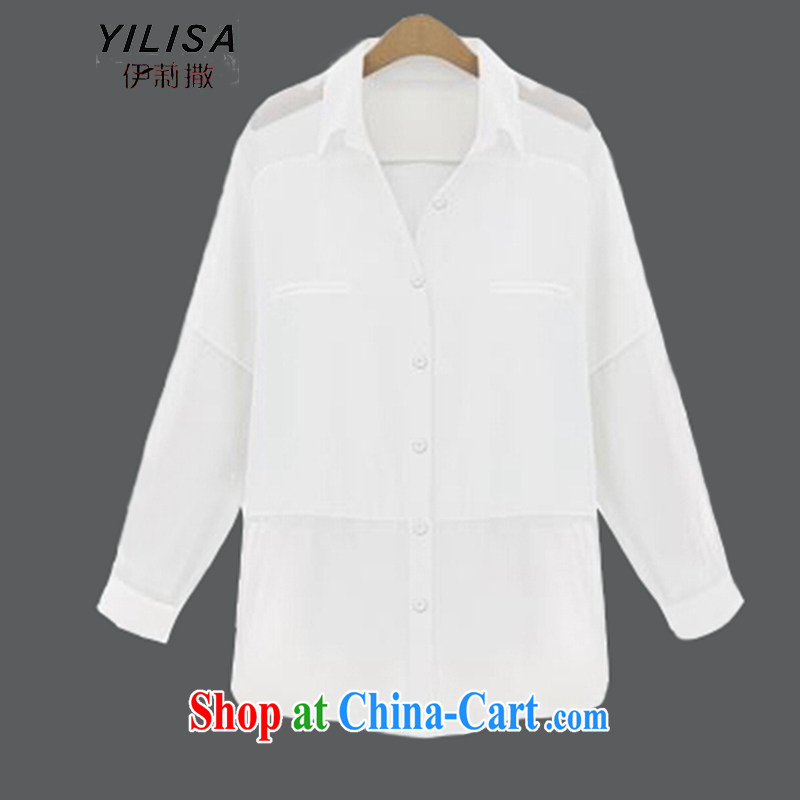 Summer YILISA new Europe in relaxed long snow-woven stitching long-sleeved jacket larger female summer mm thick sunscreen clothing Air Conditioning cardigan K 209 white 5 XL