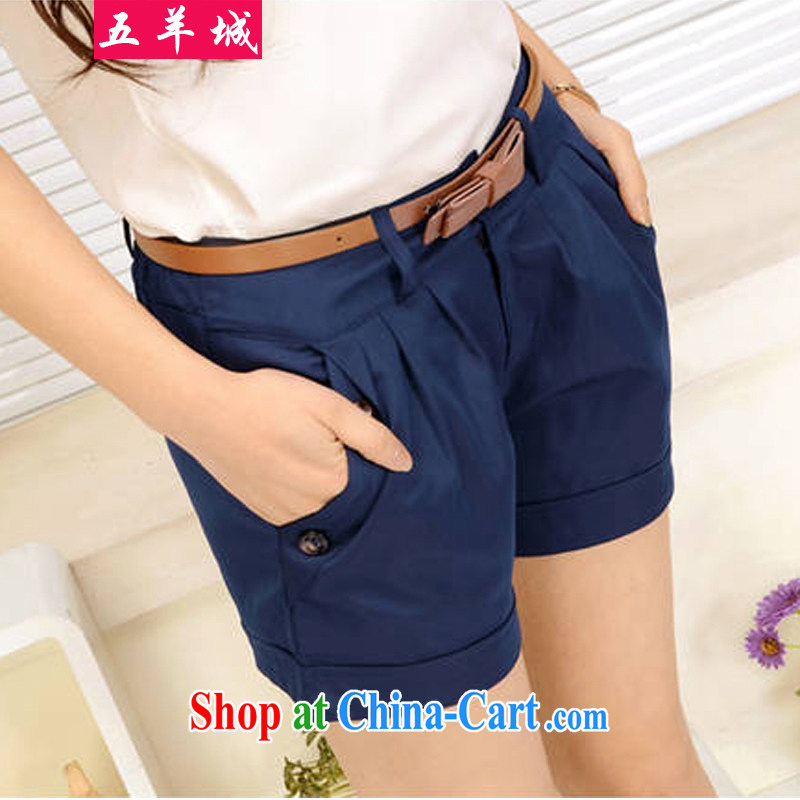 Five Rams City The Code shorts female fat, female video thin, summer New, and indeed increase, female fat sister summer solid-colored hot pants 225 blue 3 XL