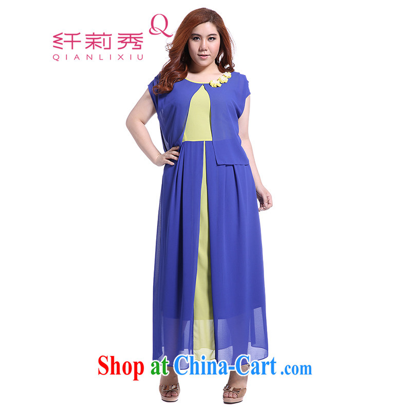 Slim LI Sau 2015 summer new, larger female presence with three-dimensional flowers knocked color stitching softness snow woven skirts dresses Q 5073 blue XL