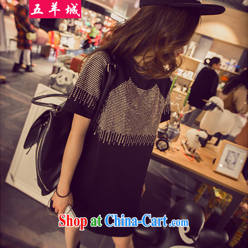 Five Rams City and indeed increase, female fat sister summer graphics thin Korean version flow, hot skirt shirt thick mm long, short-sleeved dresses 229 black 3 XL recommendations 160 - 180