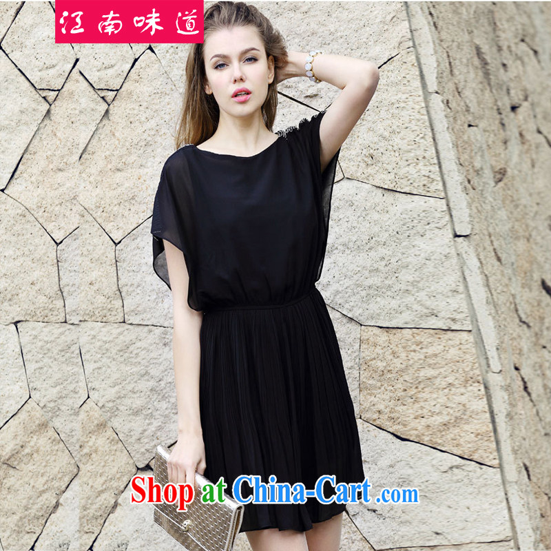 Gangnam-gu taste thick sister summer graphics thin 2015 new, larger female Korean mm thick snow beauty woven-waist dresses 218 black 3 XL 150 recommendations about Jack
