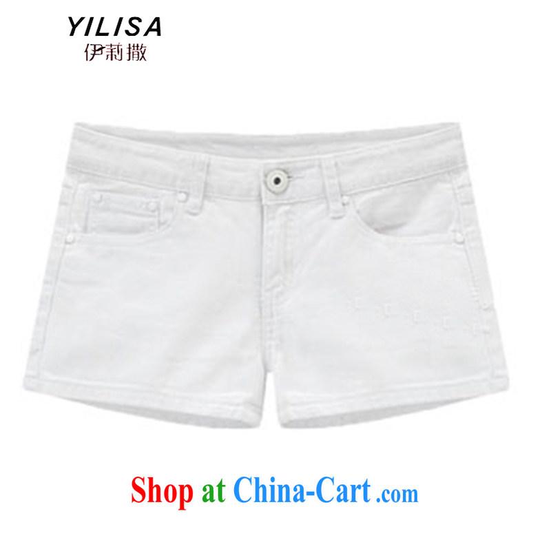YILISA 2015 new king, female summer-waist short pants thick MM denim color shorts hot leisure shorts H 6110 white 5 XL