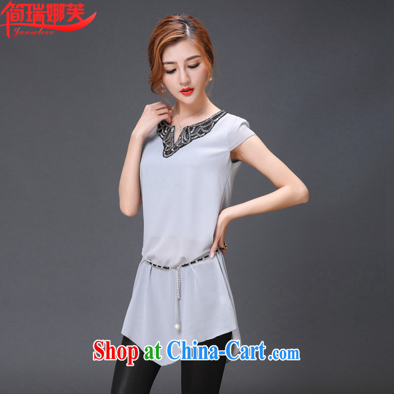 In short, would be the 2015 Korean version of the new paragraph style female larger graphics thin embroidered V collar long snow woven shirts women, waist chain J 866 gray 4 XL