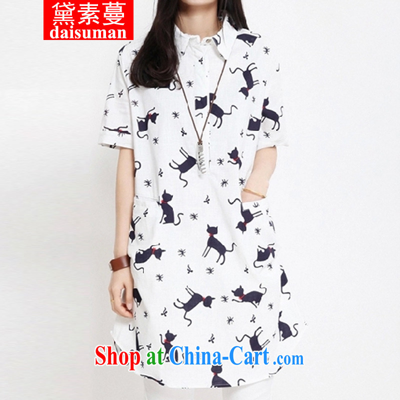 Diane of Mephidross 2015 summer new Korean version the code female cotton Ma loose video thin stamp shirt white XXL