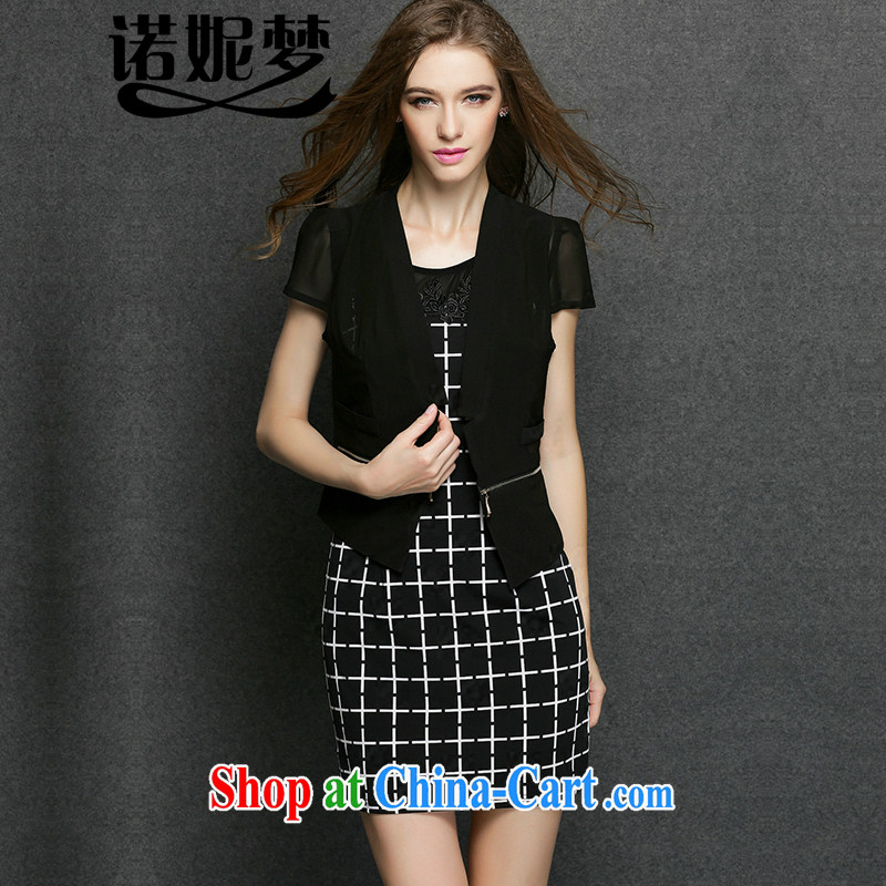 Connie's dream in Europe and America, the female summer 2015 new thick mm grid aura sleeveless dresses Two Piece Set _light jacket + skirt_ Y 3373 black XXXXL