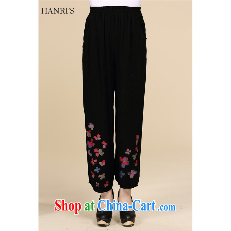 Han Rui hanris, older women in summer 2015 the commission cotton pants and indeed intensify mom with elegant stamp loose 9 pants 812 black XXXXL