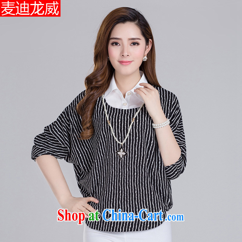 The fat increase, female spring and summer load 200 Jack fat, female video thin, BAT sleeves short-sleeved snow woven shirts thick mm short-sleeved T-shirt fake two-piece black 3 XL