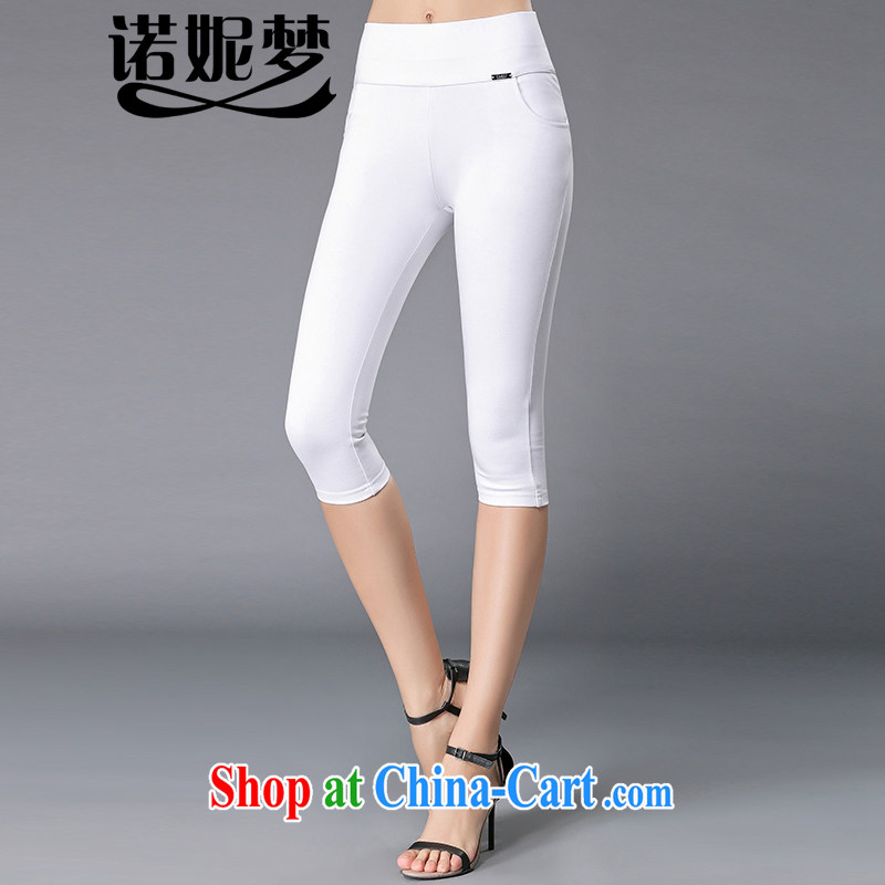 Connie's dream in Europe and America, the female summer mm thick 2015 new style solid color stretch cultivating graphics thin 100 7 ground pants casual women pants Y 3365 white XXXXL
