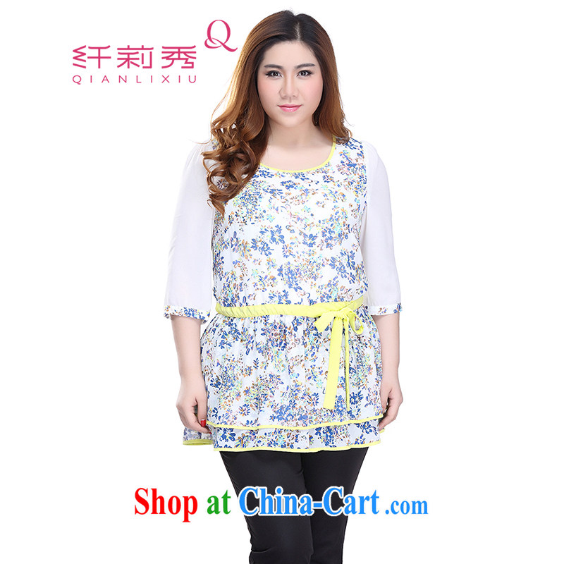 Slim LI Sau 2015 summer new, larger female stamp duty hit color round-collar 7 snow cuff woven shirts Q 5723 blue XXXXL