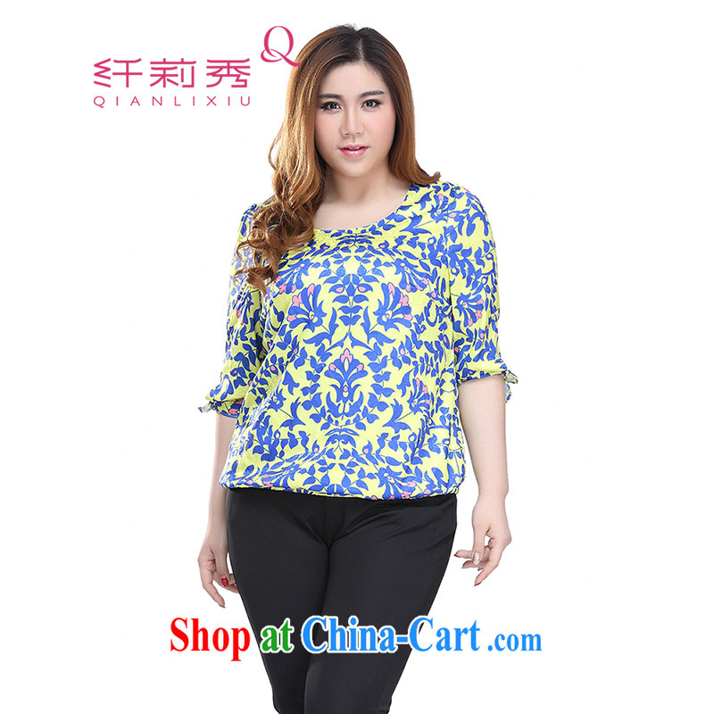 Slim LI Sau 2015 summer new, larger female style stamp elasticated hem features Elasticated cuffs with small shirt Q 7381 fancy XXXL