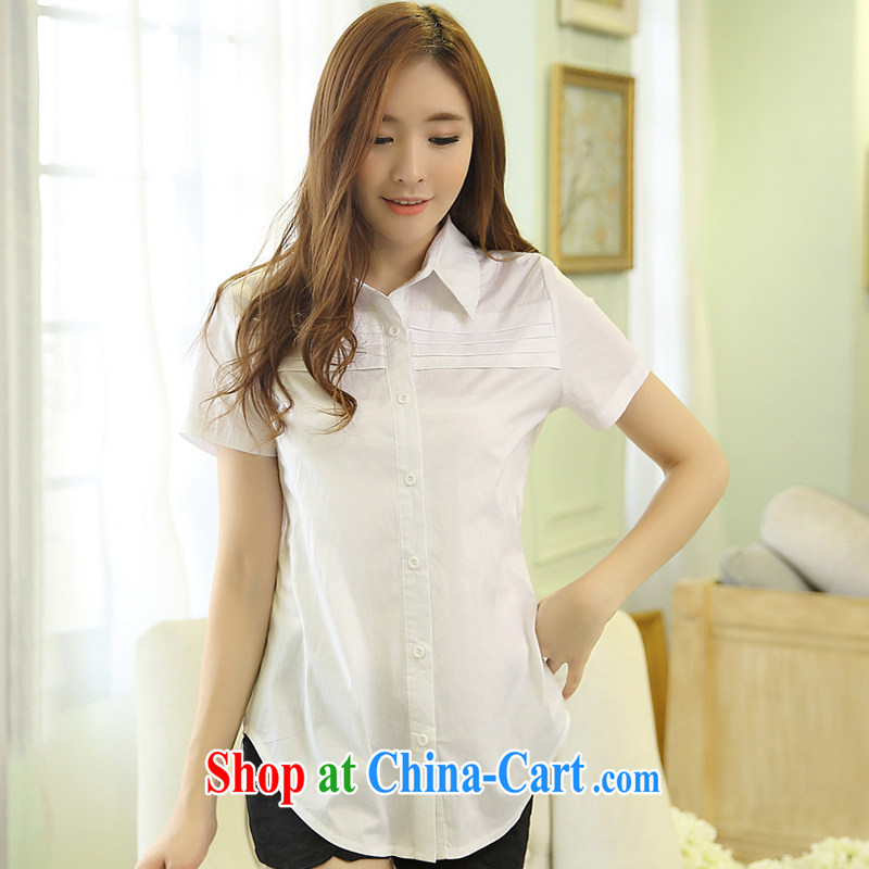2015 European and American large code female new mm thick summer boutique short-sleeved, long, XL white shirt shirt - YY 391,200 white 6 XL